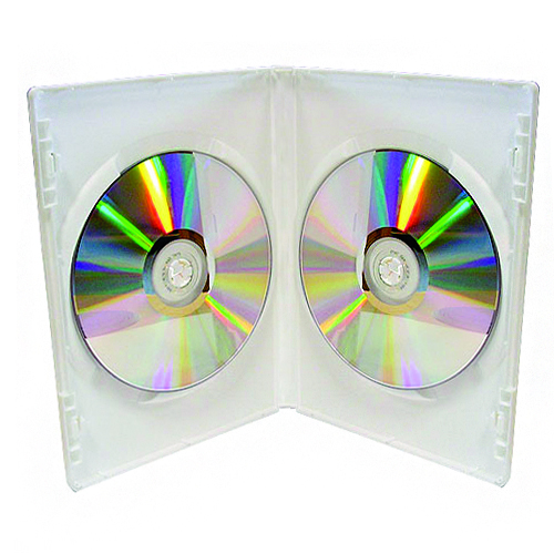 Double DVD Case White machine packable 100 Cases