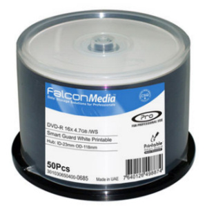 Falcon Smart Guard Professional DVD-R White Inkjet Printable 600